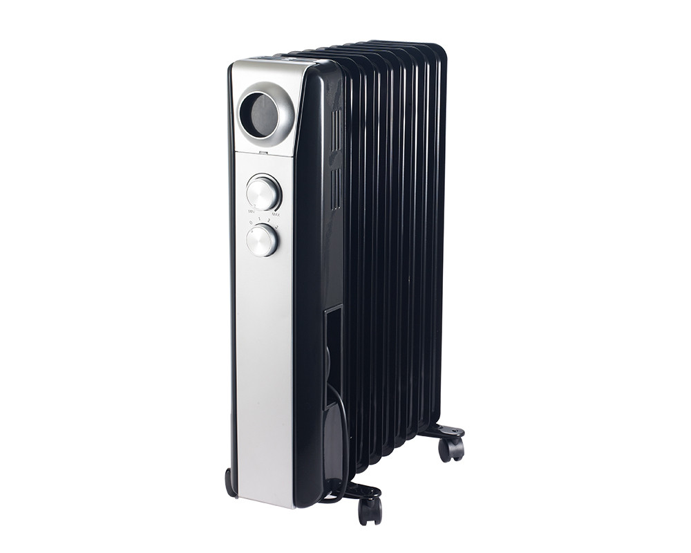 Tornado Oil Heater 9 Fins 2000 Watt With Black X Silver Color & 3 Heat Settings TOH-9