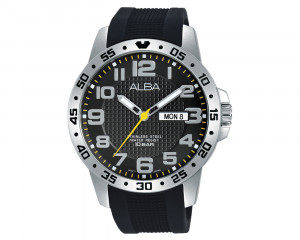 ALBA Men's Hand Watch ACTIVE Black PU Strap & Black Patterned Dial AT2035X1