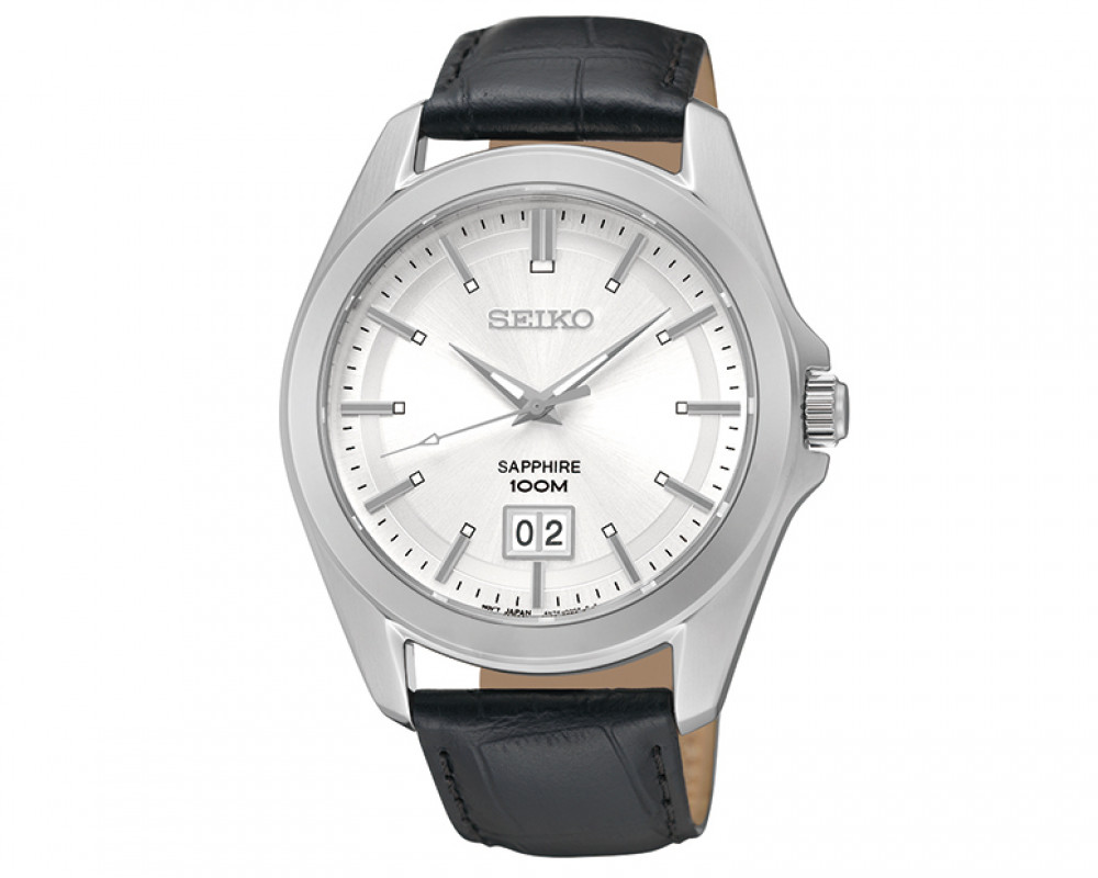 Seiko Men's Hand Watch Quartz Black Leather Band & Water Resistant SUR007P2