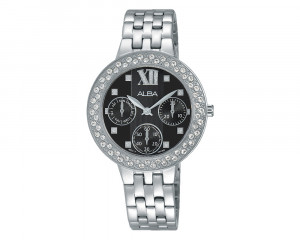 ALBA Ladies' Hand Watch FASHION Stainless Steel Bracelet & Black Patterned Dial AP6461X1
