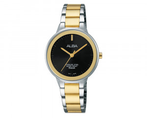 ALBA Ladies' Hand Watch Fashion Stainless Steel Band & Black Dial ARSY73X1