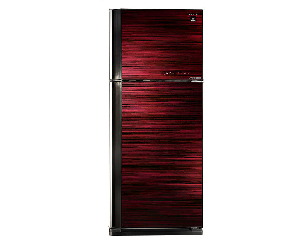 Sharp Refrigerator 450 Liters Inverter technology 2 Door Red Glass color with Plasma Cluster SJ-GV58A(RD)