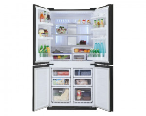 Sharp Refrigerator 4 Door 600L Glass Silver Digital Hybrid SJ-FS85V-SL