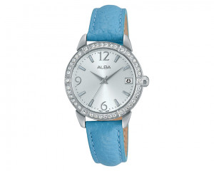 ALBA Ladies' Hand Watch Fashion Silver dial and Blue leather band AG8541X1