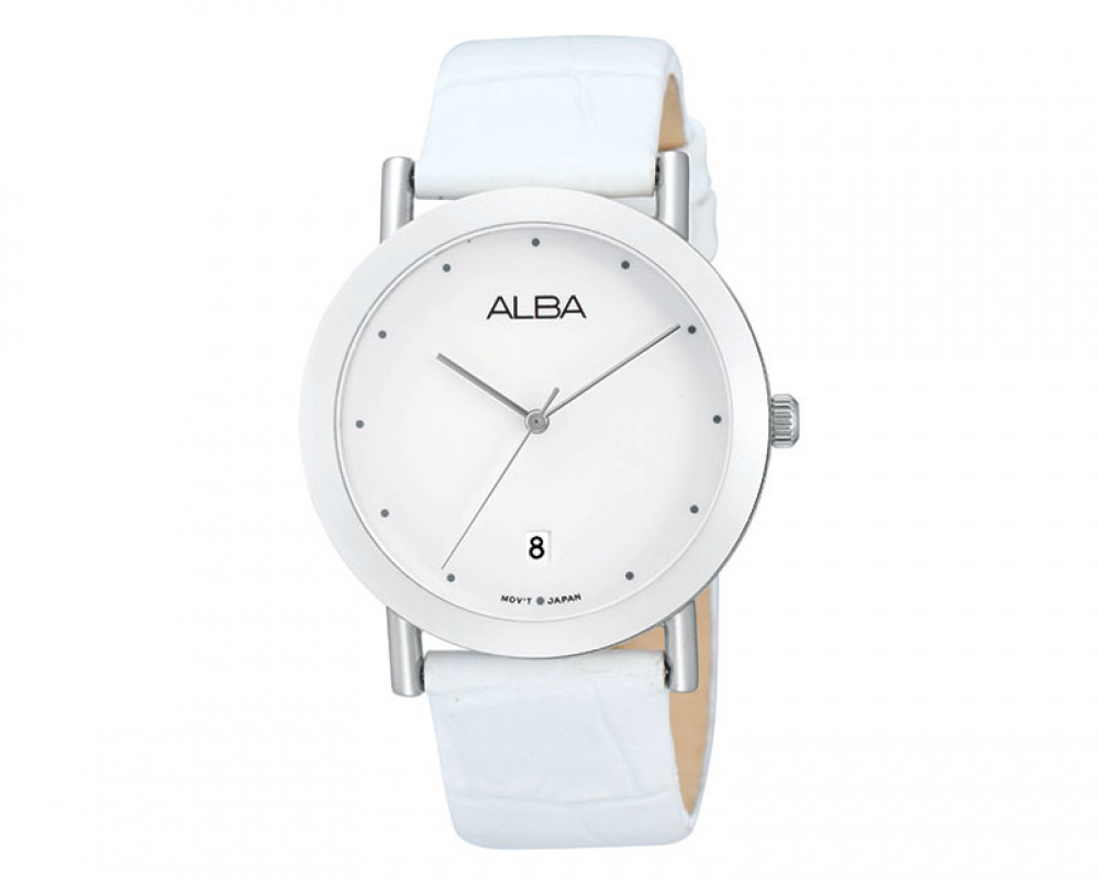 ALBA Ladies' hand watch Fashion White leather strap & White dial AG8381X