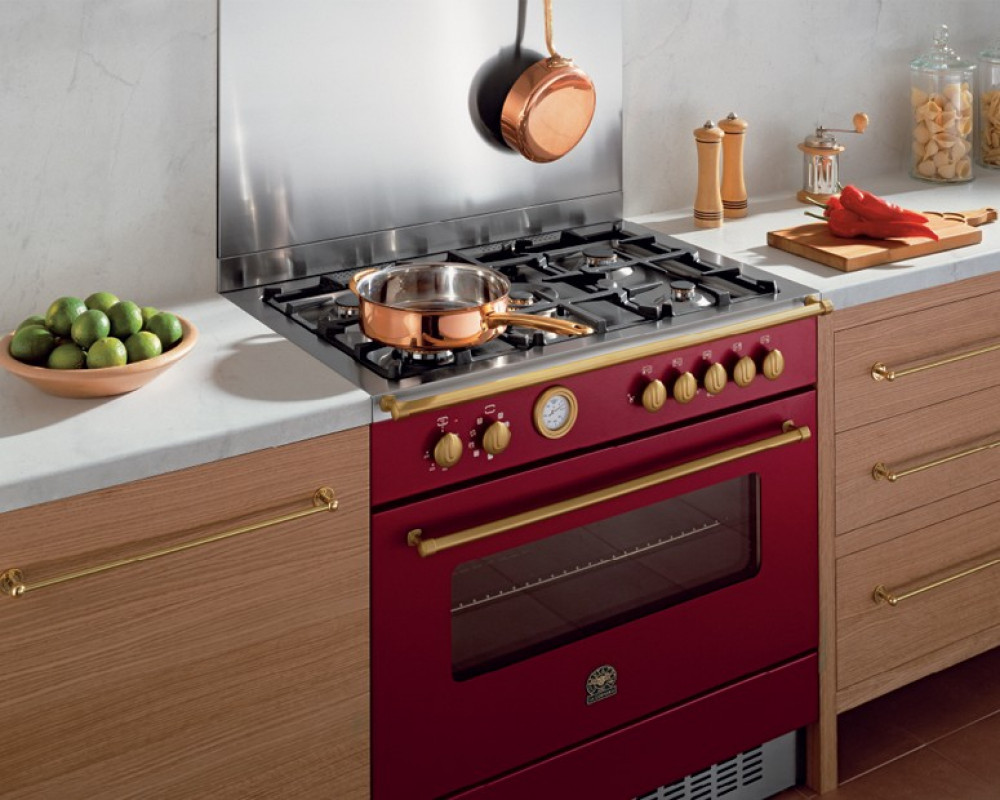 La Germania Cooker 5 Gas Burners 90X60 Vino Color with Oven & Grill CN95C81BVI