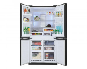 Sharp Refrigerator 4 Doors 600L Glass Black Plasma Cluster SJ-FS85V-BK