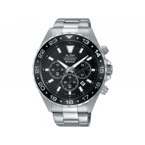 ALBA Men's Hand Watch ACTIVE Stainless Steel Bracelet & Black Patterned Dial AT3907X1