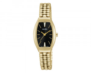 ALBA Ladies' Hand Watch FASHION Golden Stainless Steel Bracelet & Black Dial AH8280X1