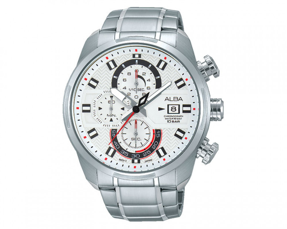 ALBA Men's hand watch Active white dial and stainless steel bracelet AM3237X1