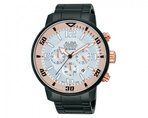 ALBA MEN'S hand watch Active Silver patterned dial & Stainless Steel band AT3709X1