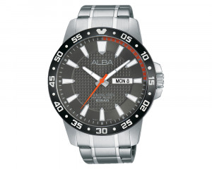ALBA Men's Hand Watch ACTIVE Stainless Steel Bracelet & Dark Grey Patterned Dial AT2025X1