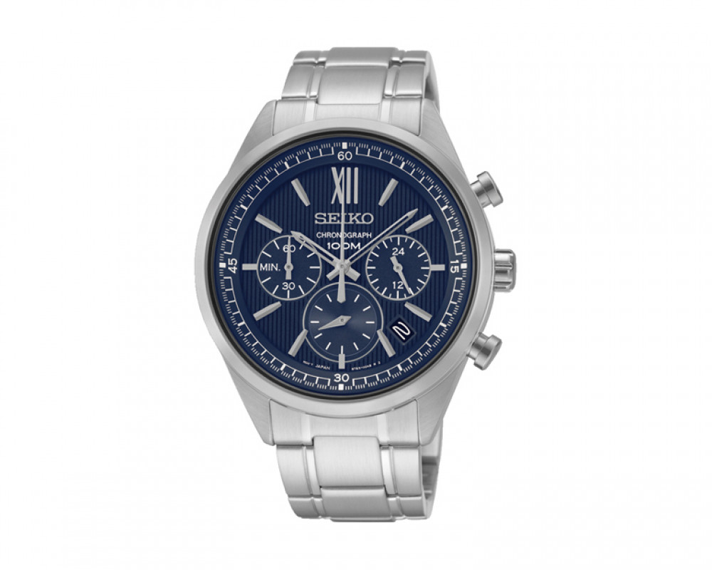 SEIKO Men's Chronograph Hand Watch Stainless Steel Band & 1Year Warranty SSB155P1