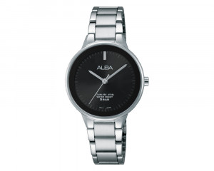 ALBA Ladies' Hand Watch Fashion Stainless Steel Band & Black Dial ARSY79X1