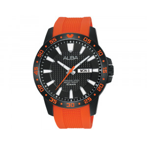 ALBA Men's Hand Watch ACTIVE Orange PU Strap & Black Patterned Dial AT2033X1
