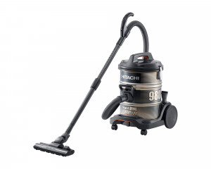 HITACHI Pail Can Vacuum Cleaner 2200 Watt Black x Gold with Telescopic Pipe CV-980D