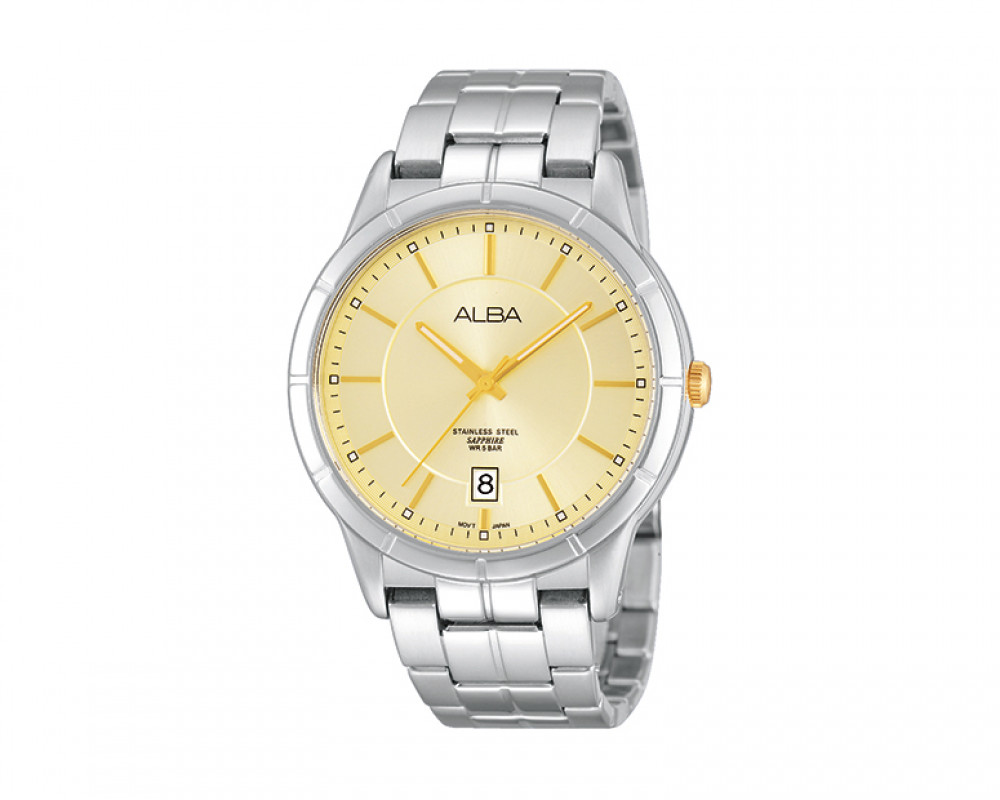 ALBA Men's hand watch Prestige Gilt dial and Black leather strap AS9613X