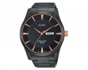 ALBA Men's Hand Watch PRESTIGE Stainless Steel Bracelet & Black Patterned Dial AV3319X1