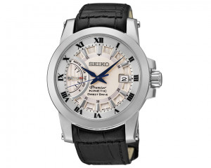 SEIKO Men's hand watch Premier with leather band & water resistance SRG015P1