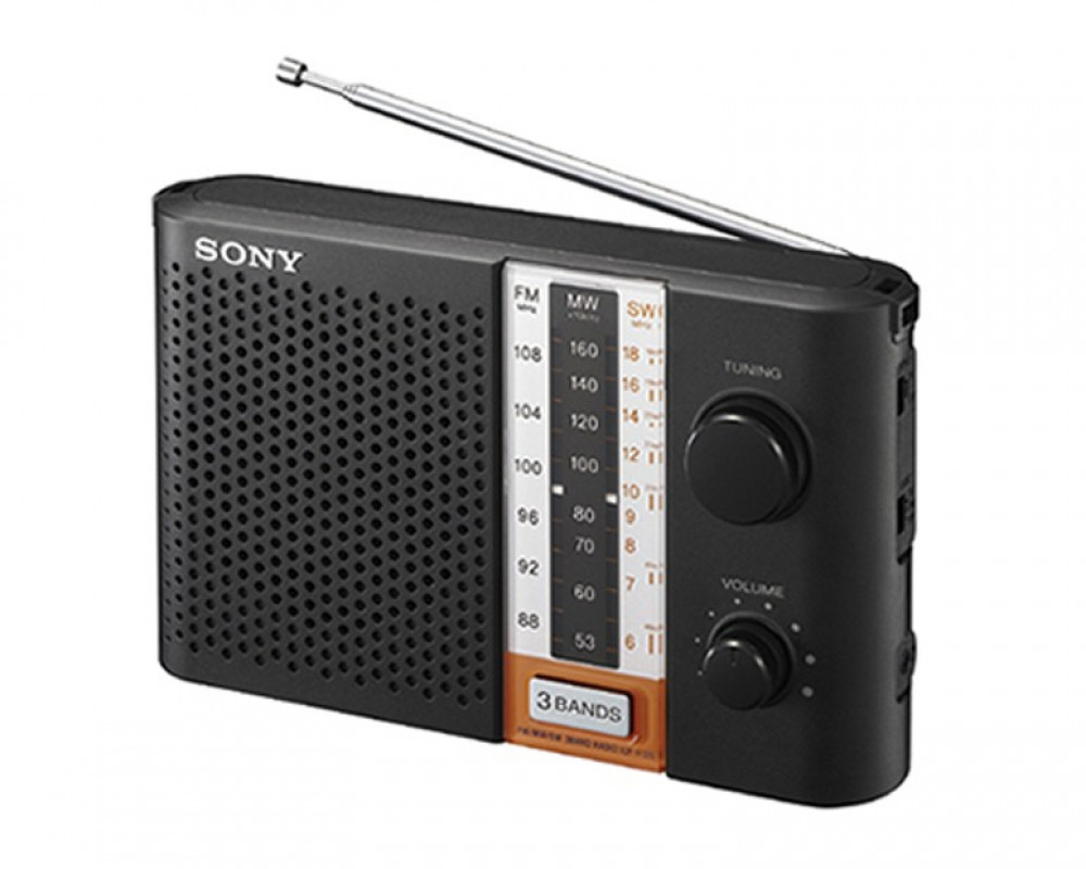 Sony Transistor Portable Radio With High Power Sound and Black Color ICF-F12S