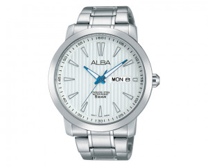 Alba MEN'S Hand Watch Prestige Stainless Steel Bracelet & Silver Patterned Dial AT2015X1