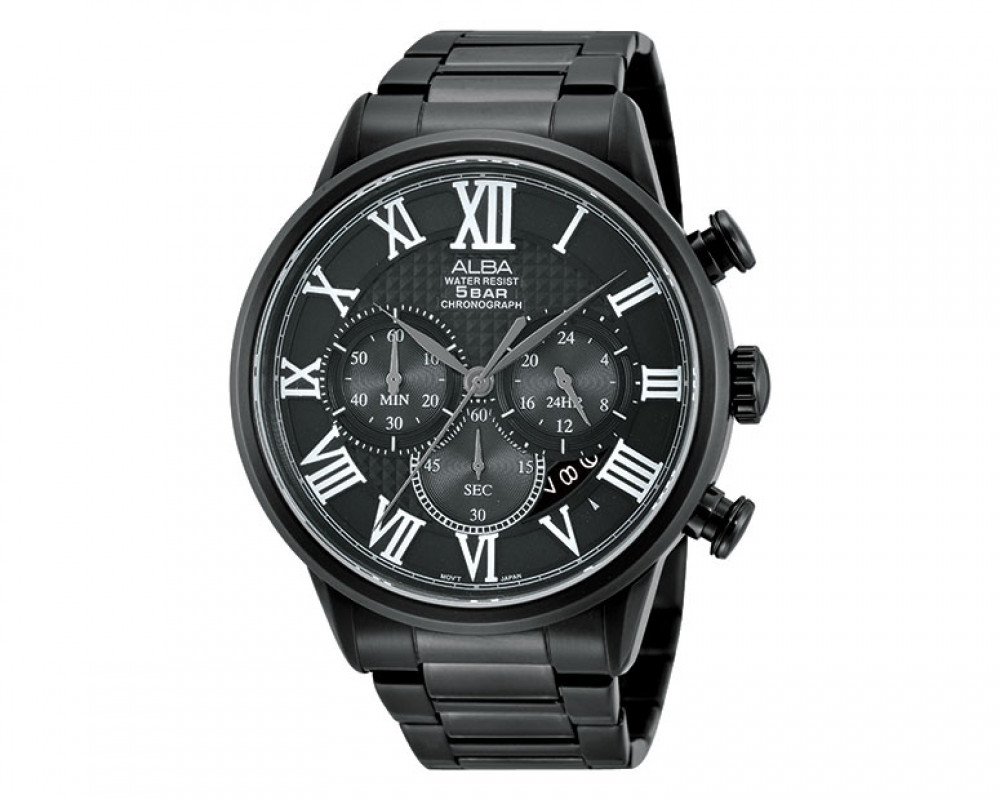 ALBA Men's hand watch Prestige Stainless steel band & Black dial AT3431X