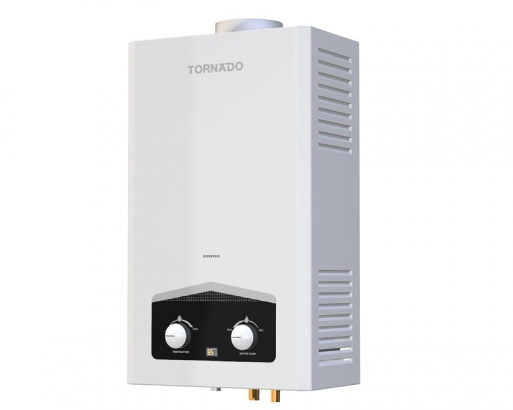 Tornado Gas Water Heater 10 Litre with Digital Screen & White Color GHM-10TD2