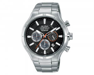 ALBA Men's Hand Watch ACTIVE Stainless Steel Bracelet & Black Patterned Dial AT3921X1