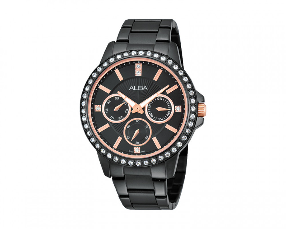 ALBA Ladies' hand watch Fashion Stainless steel band & Black dial AP6161X