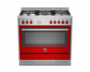 La Germania Cooker Prima 5 Gas Burners 90x60 with 2 Fans & Red color RIS95C81AXR