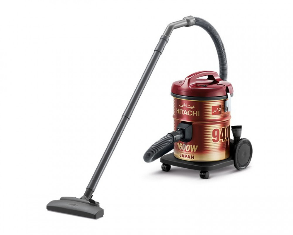 Hitachi Pail Can Vacuum Cleaner 1600 Watt with Dusting Brush & Red and Gray Color CV-940Y