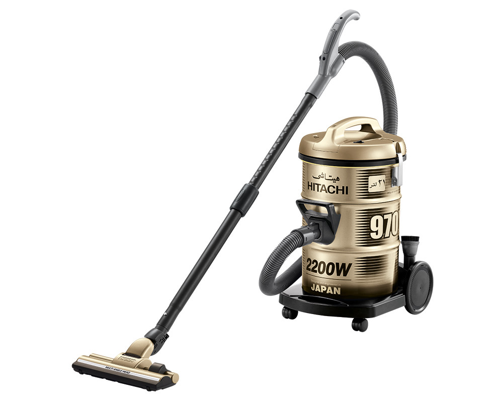 Hitachi Pail Can Vacuum Cleaner 2200 Watt Gold with Telescopic pipe & Dusting brush CV-970Y