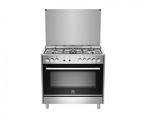 La Germania Cooker 5 Gas Burners 90X60 Stainless with Lid Glass Worktop TUS95C31DX