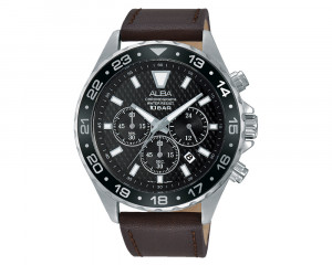 ALBA Men's Hand Watch ACTIVE Brown Leather Strap & Black Patterned Dial AT3915X1