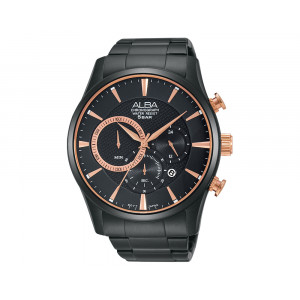 ALBA Men's Hand Watch PRESTIGE Stainless Steel Bracelet & Black Patterned Dial AT3783X1