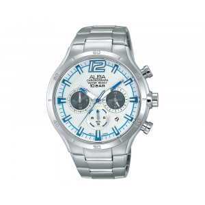 ALBA Men's Hand Watch ACTIVE Stainless Steel Bracelet & Silver White Patterned Dial AT3927X1