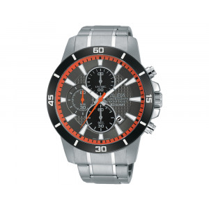 ALBA Men's Hand Watch ACTIVE Stainless Steel Bracelet & Dark Grey Patterned Dial AM3189X1