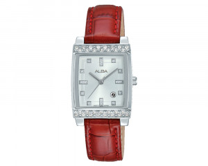 ALBA Ladies' Hand Watch FASHION Red Leather Strap & Silver White Dial AH7H71X1