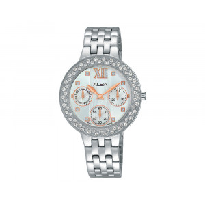 ALBA Ladies' Hand Watch FASHION Stainless Steel Bracelet & Silver White Patterned Dial AP6457X1