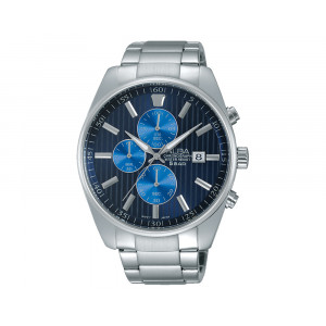 ALBA Men's Hand Watch PRESTIGE Stainless Steel Bracelet & Dark Blue Patterned Dial AM3207X1
