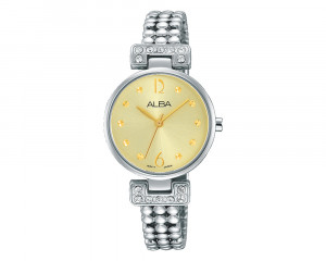 ALBA Ladies' Hand Watch FASHION Stainless Steel Bracelet & Champagne Patterned Dial AH8269X1