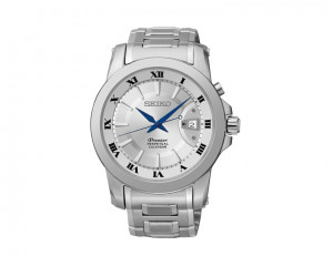SEIKO Men's Premier hand watch with stainless steel band & water resistance SNQ139P1