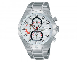 ALBA Men's Hand Watch ACTIVE Stainless Steel Bracelet & Silver White Patterned Dial AM3303X1