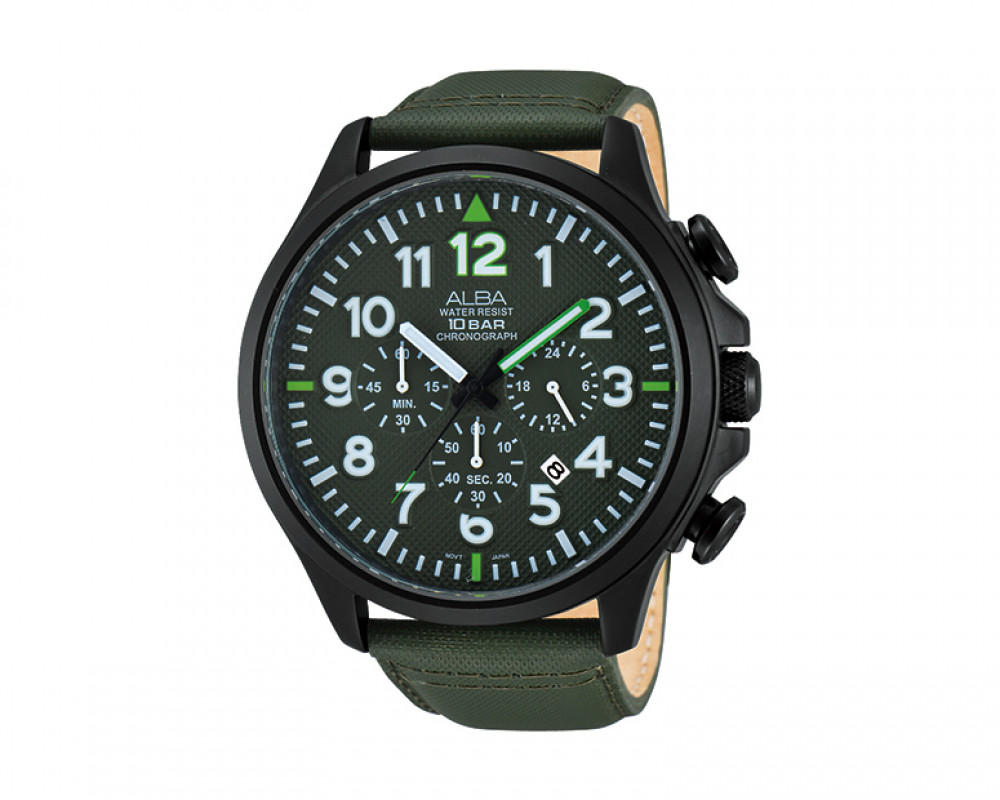 ALBA Men's hand watch Active Dark Green leather strap & Green dial AT3489X