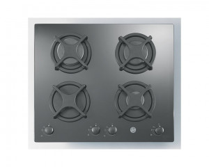 Hoover built-in Hob Gas 60cm 4 Burners Tempered Black Glass HGV640B/1