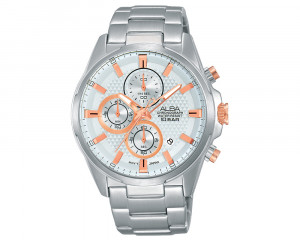 ALBA Men's Hand Watch ACTIVE Stainless Steel Bracelet & Silver White Patterned Dial AM3317X1