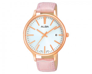 ALBA Ladies' hand watch Fashion Black patterned dial & Pink Leather strap AS9864X1