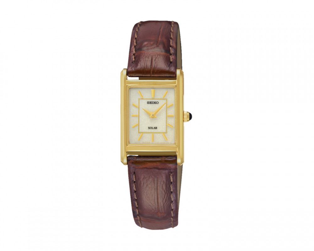 SEIKO Ladies' Hand Watch Solar Brown Leather Band & 1 Year Warranty SUP252P1