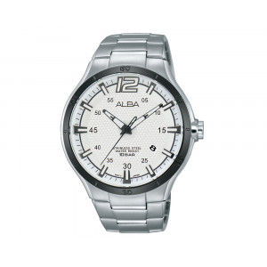 ALBA Men's Hand Watch ACTIVE Stainless Steel Bracelet & Silver White Patterned Dial AS9A77X1