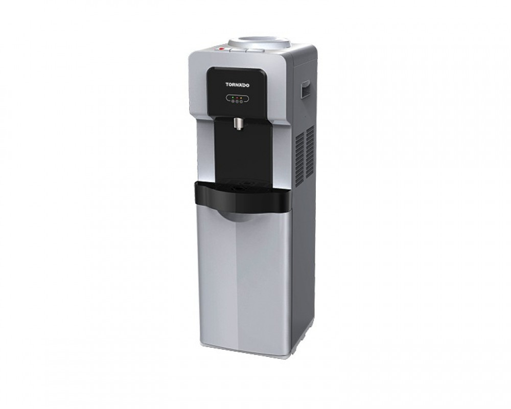 Tornado Water Dispenser Black x Silver With Faucet and Fridge WD-R35-SB